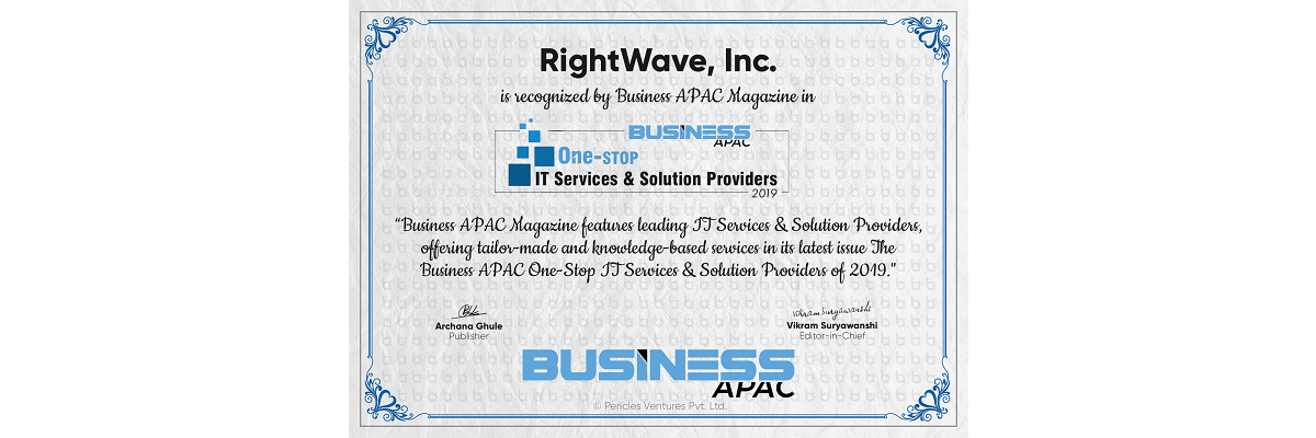 RightWave named a 2019 Business APAC One-Stop IT Service & Solution Provider